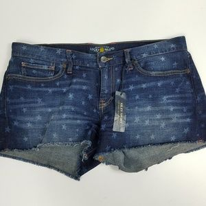 New Lucky Brand Jean Shorts Riley Stars Flag